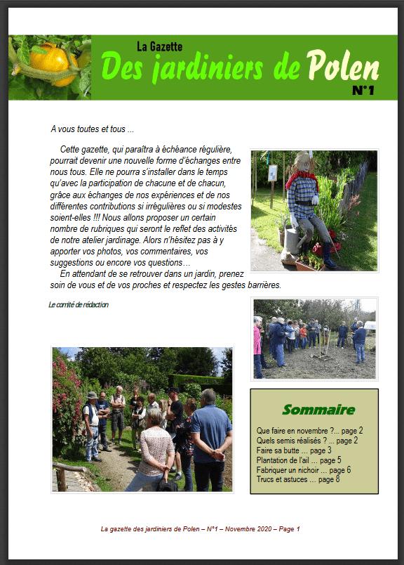 Premier n° de « la Gazette des jardiniers de Polen »
